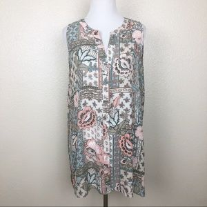 Spense Sleeveless Button Up Patterned Tunic Blouse